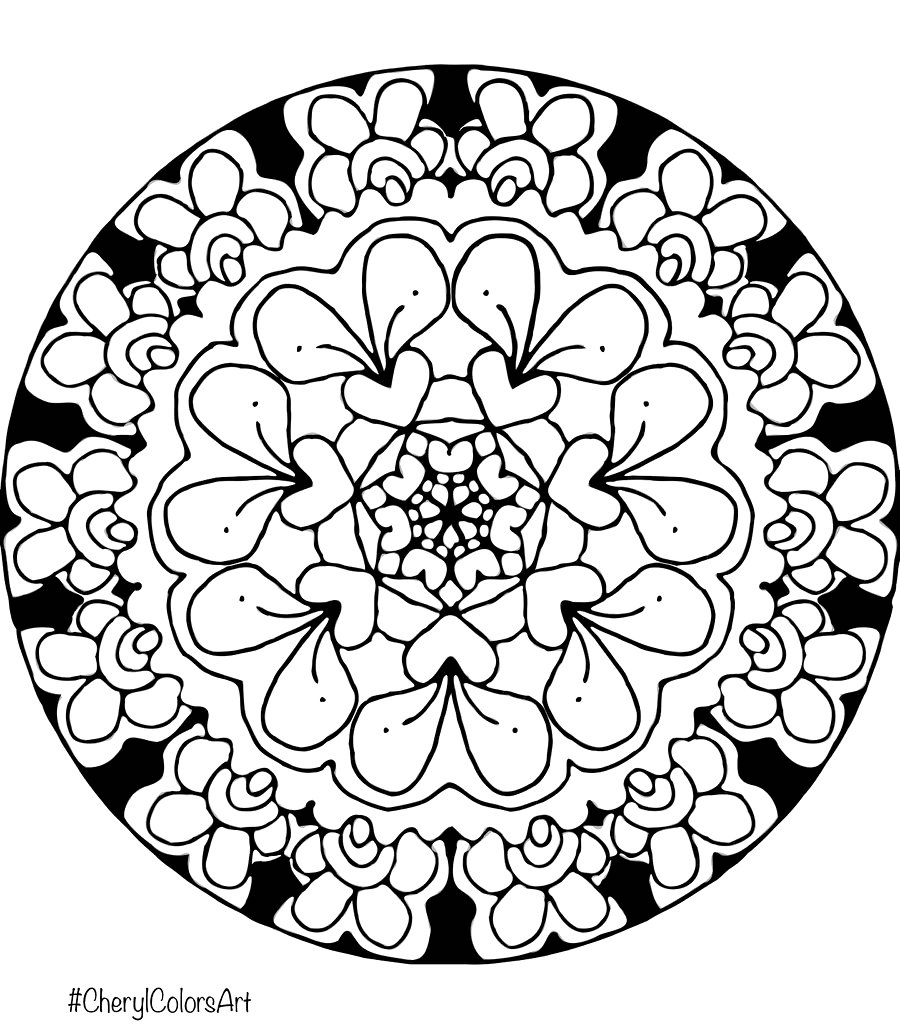 Radish Garden Hearts Mandala Coloring Page Cherylcolorsart